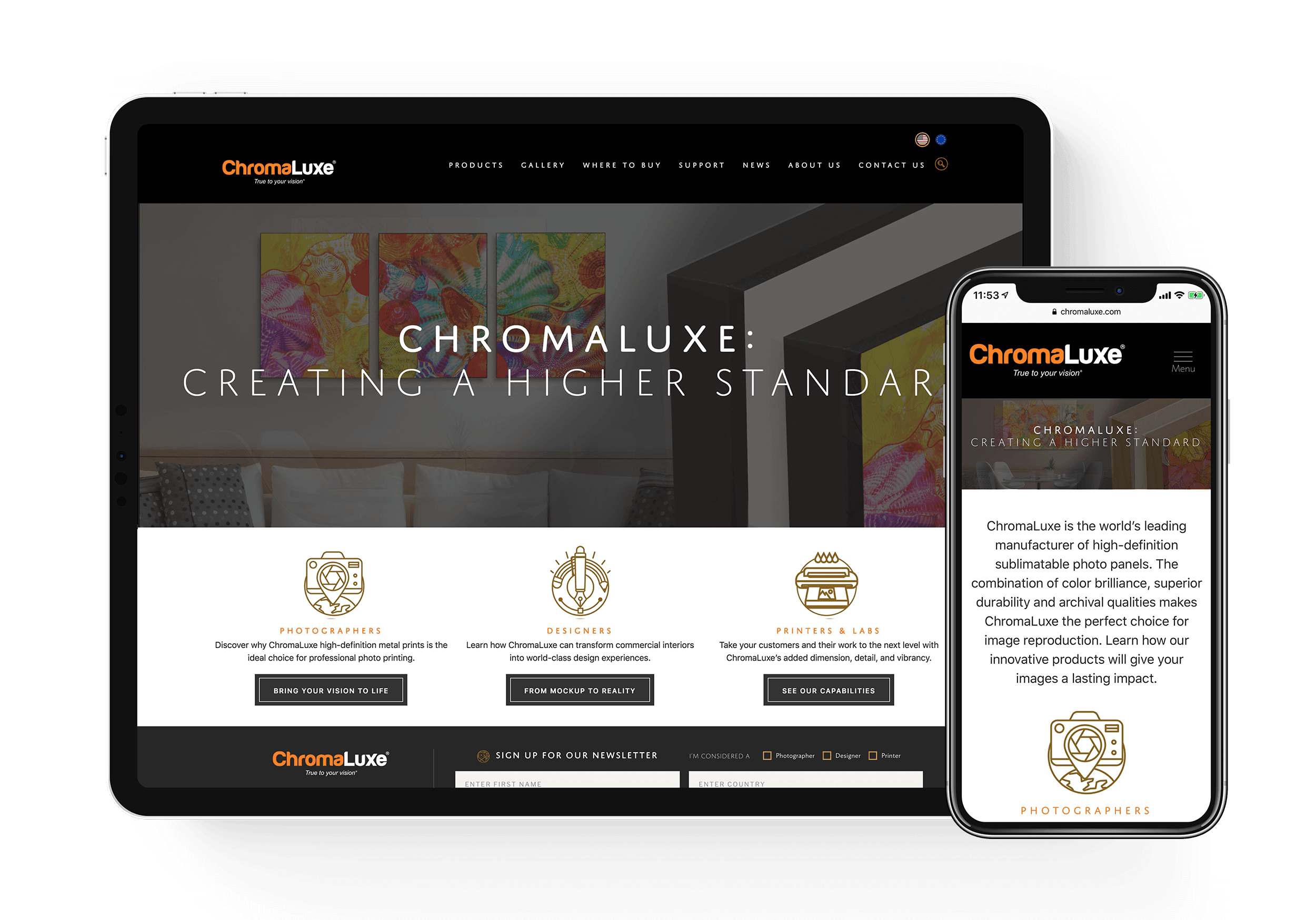 Chromaluxe Landing Page mockups
