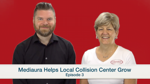 Andrew from Mediaura and Liz from Glaser's Collision Centers